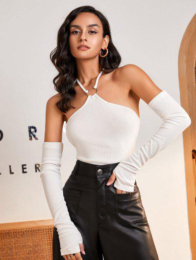 Halter Rib-knit U-bar Crop Top With Detachable Sleeves - White M