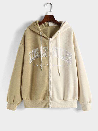 Hooded Los Angeles Graphic Two Tone Fleece Linging Jacket - Coffee L