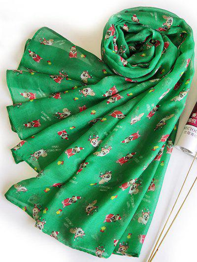 Christmas Dogs Print Voile Scarf - Green