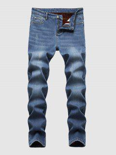Faux Fur Lined Scratch Warm Jeans - Deep Blue 34