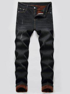 Faux Fur Lined Scratch Long Jeans - Black 42