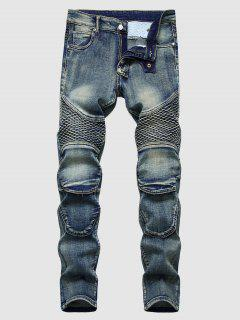 Faded Wash Stitching Patch Vintage Jeans - Deep Blue 38