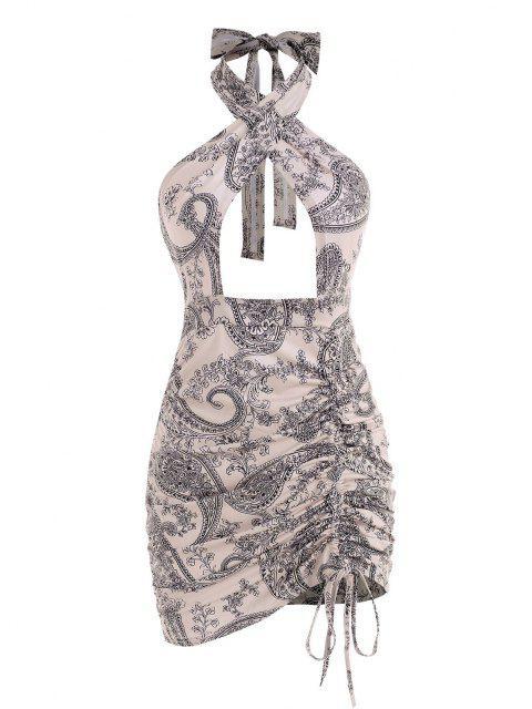 Kreuzes und Queres Kleid mit Blumenmuster und Paisley Ausschnitt - Licht Kaffee L Mobile