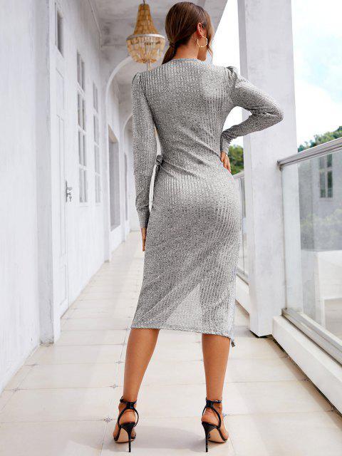 Melierte Geripptes Puff Ärmel Figurbetontes Kleid - Hellgrau M Mobile
