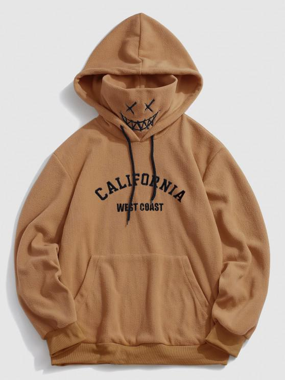 chic ZAFUL Letter Graphic Embroidered Fleece Mask Hoodie - COFFEE M