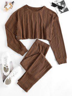 ZAFUL Lounge Cable Knit Drop Shoulder Skinny Pants Set - Coffee L