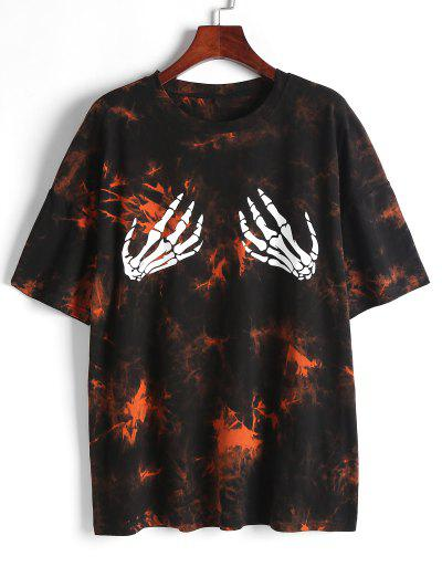 Oversized Tie Dye Skeleton Hands Graphic Tee - Multi Xl
