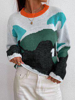 Jersey De Bloque De Color Y Hombro Caído - Multicolor L
