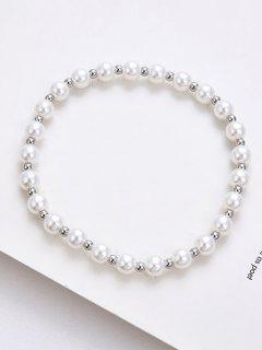 Beading Faux Pearl Elastic Bracelet - Silver