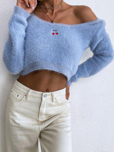 Flaumiger Pullover Mit Kirschstickerei - Blau L