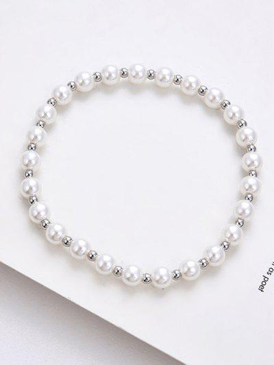 Perlen Künstliche Perle Elastisches Armband - Silber