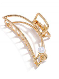 Alloy Faux Pearl Hair Claw Clip - Golden