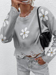 Jersey Gráfico Floral Rasgado - Gris L