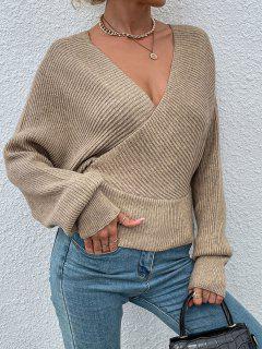 Batwing Sleeve Bar Back Surplice Sweater - Light Coffee L