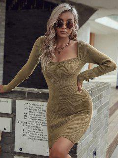 Slinky Bodycon Short Sweater Dress - Deep Coffee L