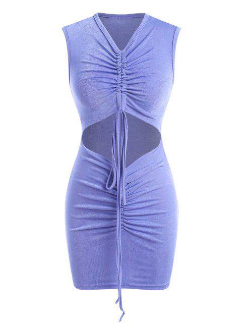 Geschnürte Geraffte Jersey Etuikleid mit Ausschnitt - Blau S Mobile
