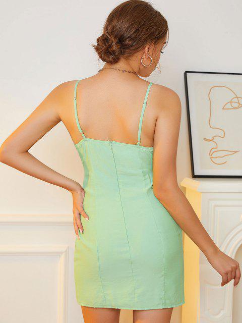 O Ring Schlüsselloch Ausschnitt Kleid mit Geteilten Ärmeln - Hellgrün S Mobile
