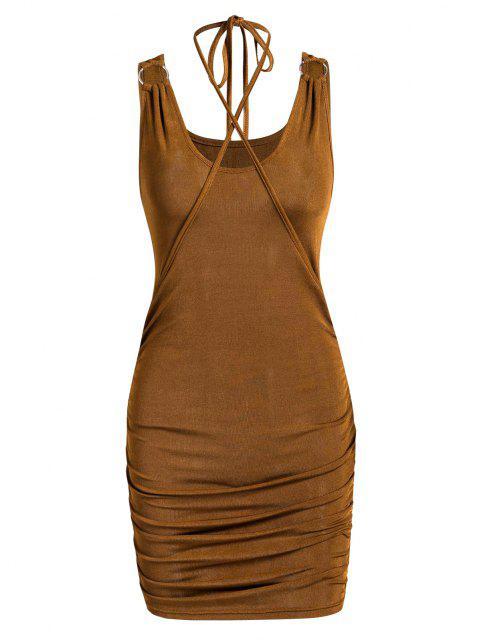 Jersey-Knit-Ringe Geredelt Slinky Figurbetontes-Kleid - Tiefkaffee XS Mobile