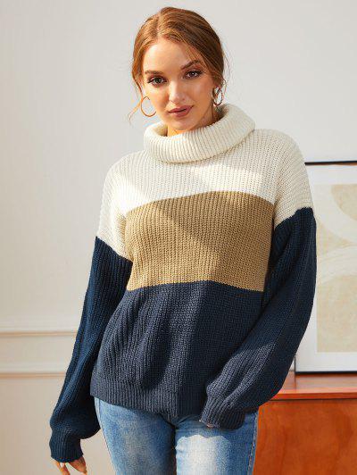 Turtleneck Drop Shoulder Colorblock Jumper Sweater - Multi S