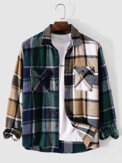 Plaid Patchwork Pocket Shirt - Coffee Xl