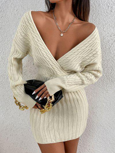 Long Sleeve Cable Knit Surplice Sweater Dress - White L