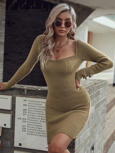 Slinky Bodycon Short Sweater Dress - Deep Coffee S