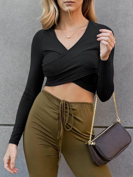 women's Ribbed Knit Surplice Slim Crop Tee - BLACK S