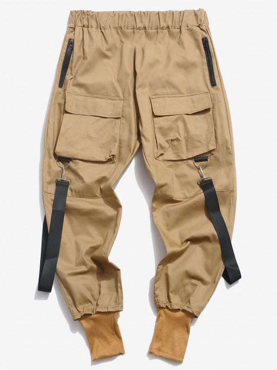 Pantalones Casual Bolsillos y Zipper - café luz XS
