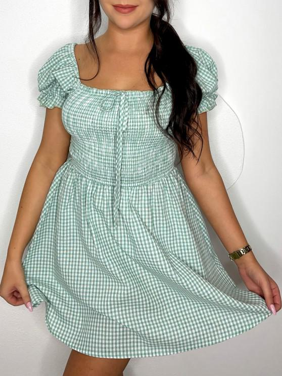 unique ZAFUL Gingham Smocked Puff Sleeve Dress - LIGHT GREEN S