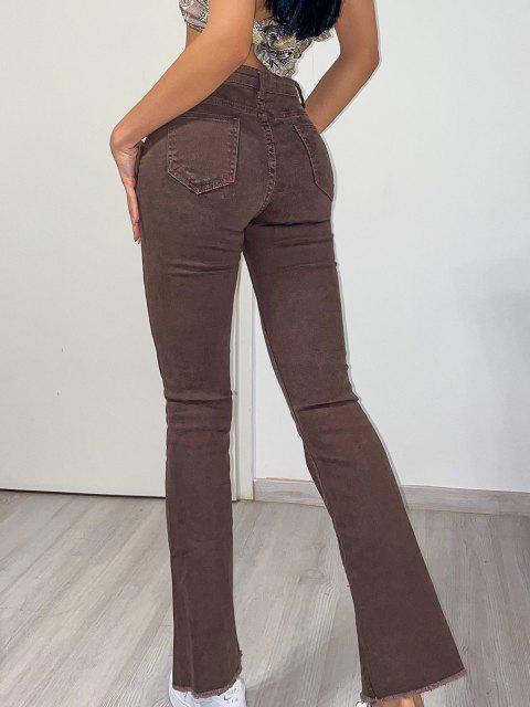 Ausgestelltes Jeans mit Ausgefranstem Saum und Hoher Taille - Kaffee L Mobile