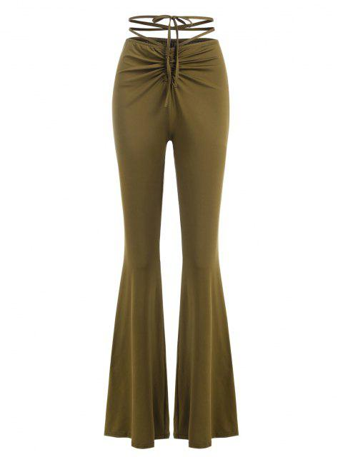 women Cinched Ruched Midriff Flossing Jersey Flare Pants - GREEN S Mobile