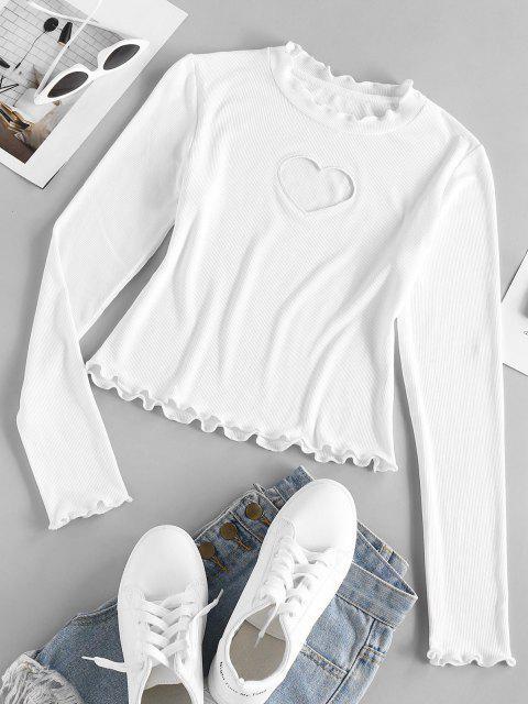 ZAFUL Camiseta Corta Acanalada con Adorno de Corazón - Blanco S Mobile
