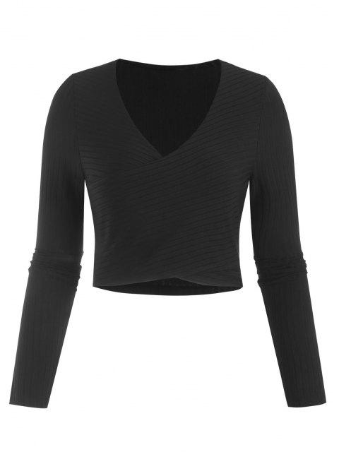 Camiseta Recortada Punto Acanalado - Negro S Mobile