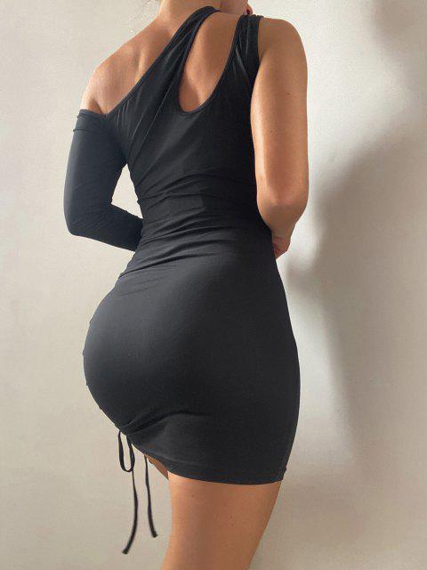 ZAFUL Ausschnitt Einziger Schulter Bodycon Kleid - Schwarz L Mobile