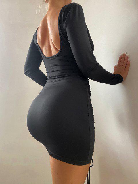 ZAFUL Bodycon Kleid mit Tiefem Ausschnitt und Rüschen - Schwarz M Mobile