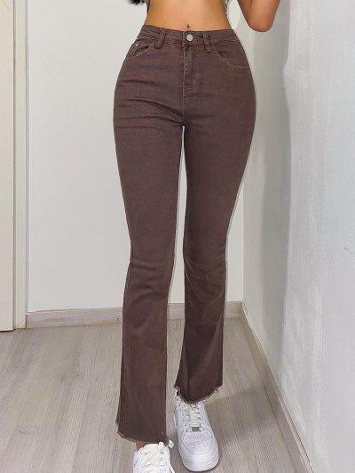 High Waisted Frayed Hem Flared Jeans - Coffee S
