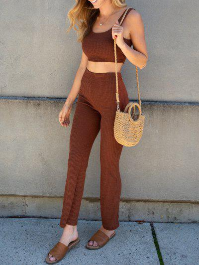 ZAFUL Ribbed Knit Two Piece Flare Pants Set - Deep Coffee S