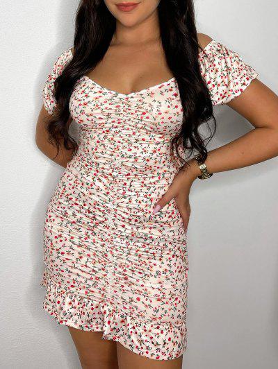 ZAFUL Ditsy Print Puff Sleeve Ruched Mini Mermaid Dress - White S