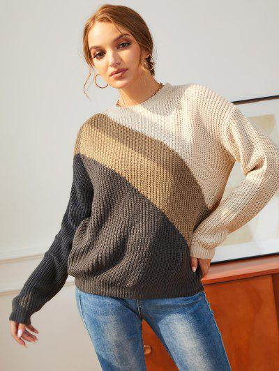 Colorblock Drop Shoulder Chunky Knit Sweater - Multi S