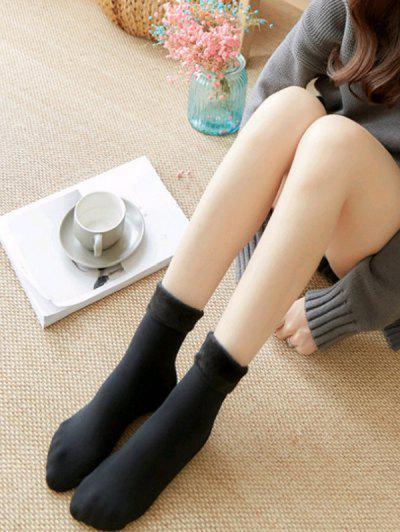 2 Paar Schafwolle Gefütterte Knöchel Socken Set - Schwarz