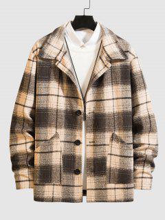 Front Pocket Blend Wool Plaid Coat - Multi-a Xl