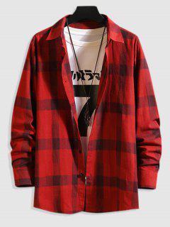 Casual Long Sleeve Plaid Shirt - Red L