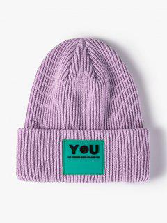 Letters Applique Ribbed Knitted Hat - Light Purple