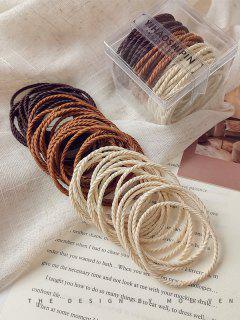 50Pcs Twisted Elastic Hair Tie Set - Coffee