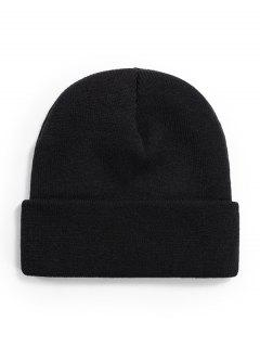 Turn Up Cuff Knitted Hat - Black