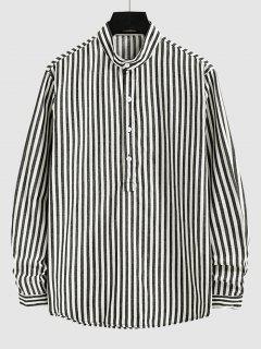 Half Button Vertical Striped Shirt - White Xl