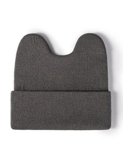 Turn Up Cuff Bunny Knit Hat - Gray