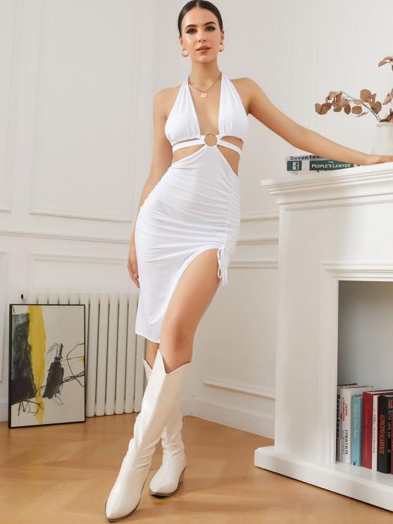 Halter O Ring Midriff Flossing Split Dress - أبيض M
