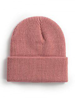 Solid Ribbed Knitted Beanie - Pink