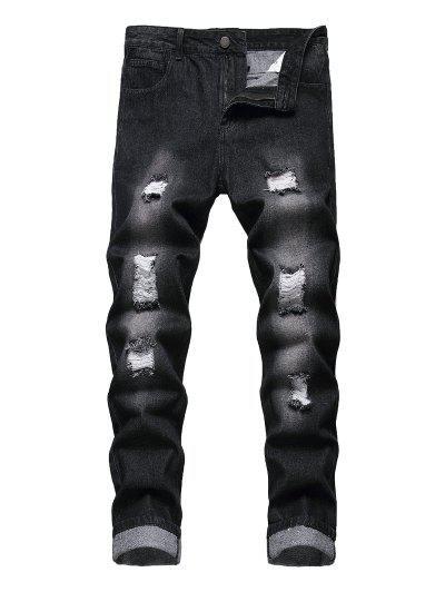 Zip Fly Destroy Wash Jeans - Black 32